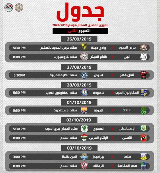 بالمواعيد والملاعب جدول الدور الأول من الدورى المصرى 2019 2020 اليوم السابع