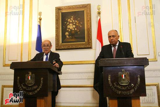 سامح شكرى ووزير الخارجيه الفرنسى (3)