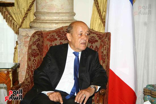 وزير الخارجية سامح شكرى يستقبل نظيره الفرنسى (7)