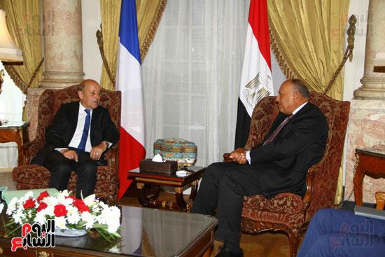 وزير الخارجية سامح شكرى يستقبل نظيره الفرنسى (14)