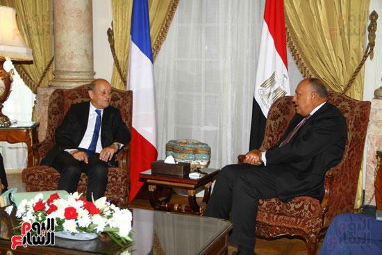 وزير الخارجية سامح شكرى يستقبل نظيره الفرنسى (16)