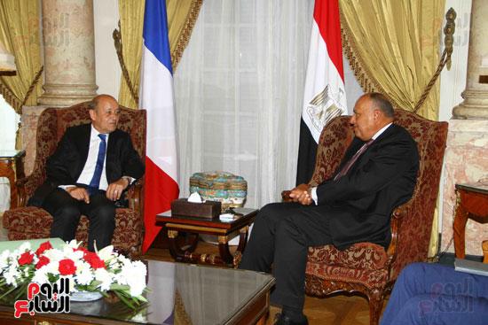 وزير الخارجية سامح شكرى يستقبل نظيره الفرنسى (15)