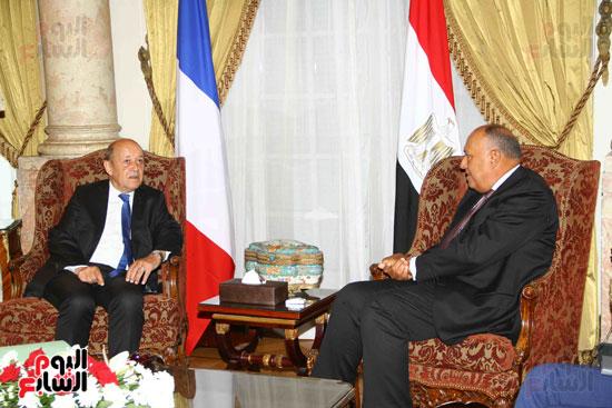 وزير الخارجية سامح شكرى يستقبل نظيره الفرنسى (8)
