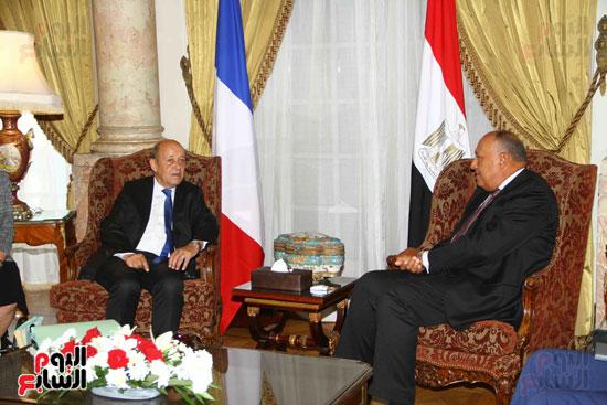 وزير الخارجية سامح شكرى يستقبل نظيره الفرنسى (13)