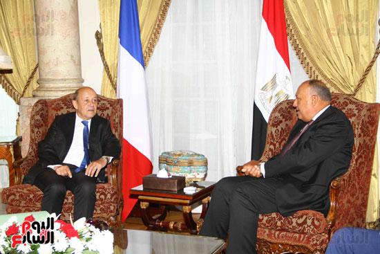 وزير الخارجية سامح شكرى يستقبل نظيره الفرنسى (9)