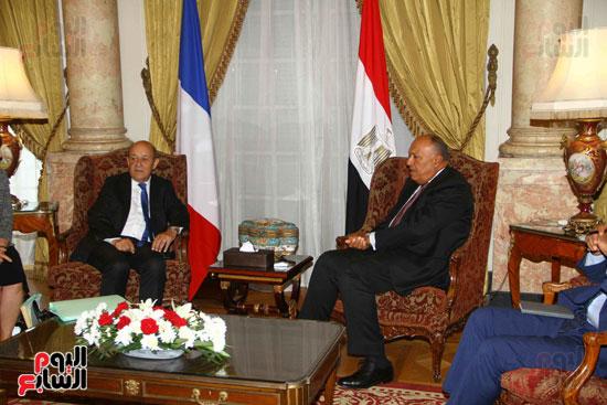 وزير الخارجية سامح شكرى يستقبل نظيره الفرنسى (1)