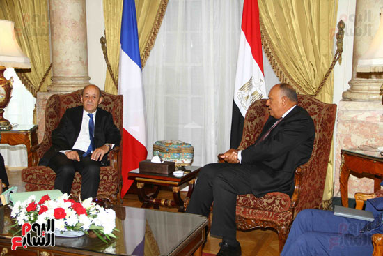 وزير الخارجية سامح شكرى يستقبل نظيره الفرنسى (4)
