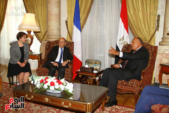 وزير الخارجية سامح شكرى يستقبل نظيره الفرنسى (17)