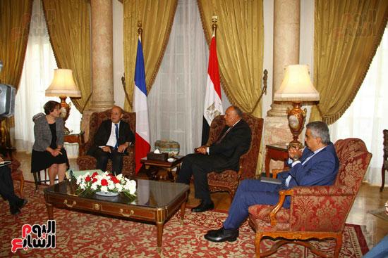 وزير الخارجية سامح شكرى يستقبل نظيره الفرنسى (2)
