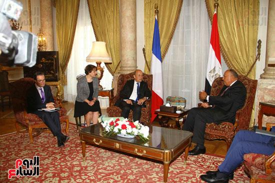 وزير الخارجية سامح شكرى يستقبل نظيره الفرنسى (11)