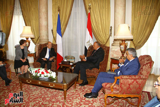 وزير الخارجية سامح شكرى يستقبل نظيره الفرنسى (3)