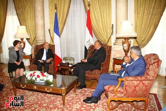 وزير الخارجية سامح شكرى يستقبل نظيره الفرنسى (12)