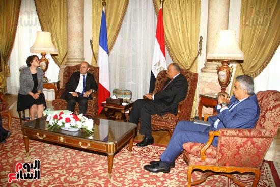 وزير الخارجية سامح شكرى يستقبل نظيره الفرنسى (5)