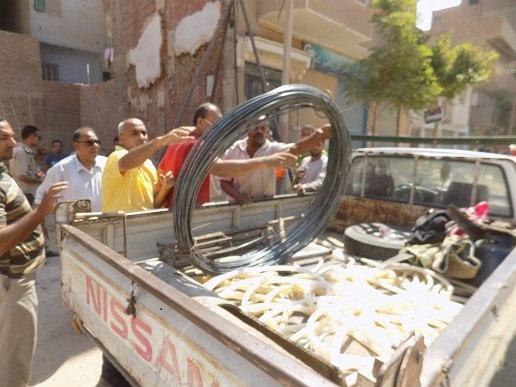 ضبط وتحرير 125 مخالفه خلال حملة للإشغالات بمركز بنى مزار بالمنيا (1)