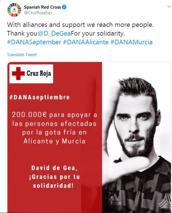دي خيا يدعم ضحايا العاصفة في اسبانيا