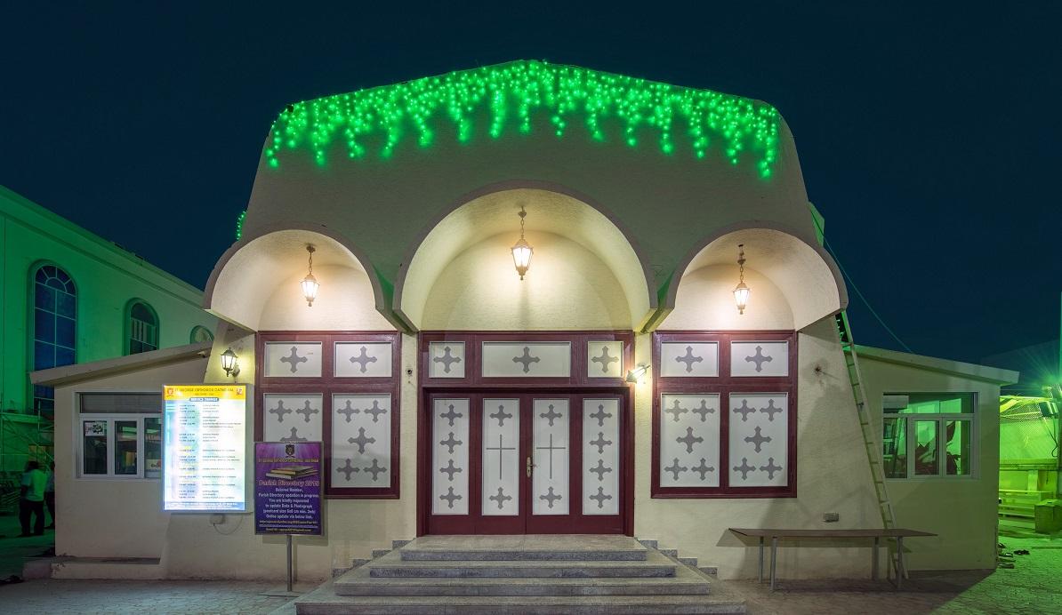 اللون الأخضر يزين دور العبادة فى أبو ظبى