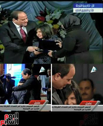 الرئيس السيسى يُقبّل رأس ابنة الشهيد شهد هشام عزب