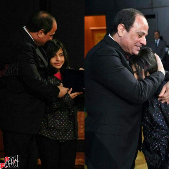 الرئيس السيسى يحتضن ابنة الشهيد شهد هشام عزب