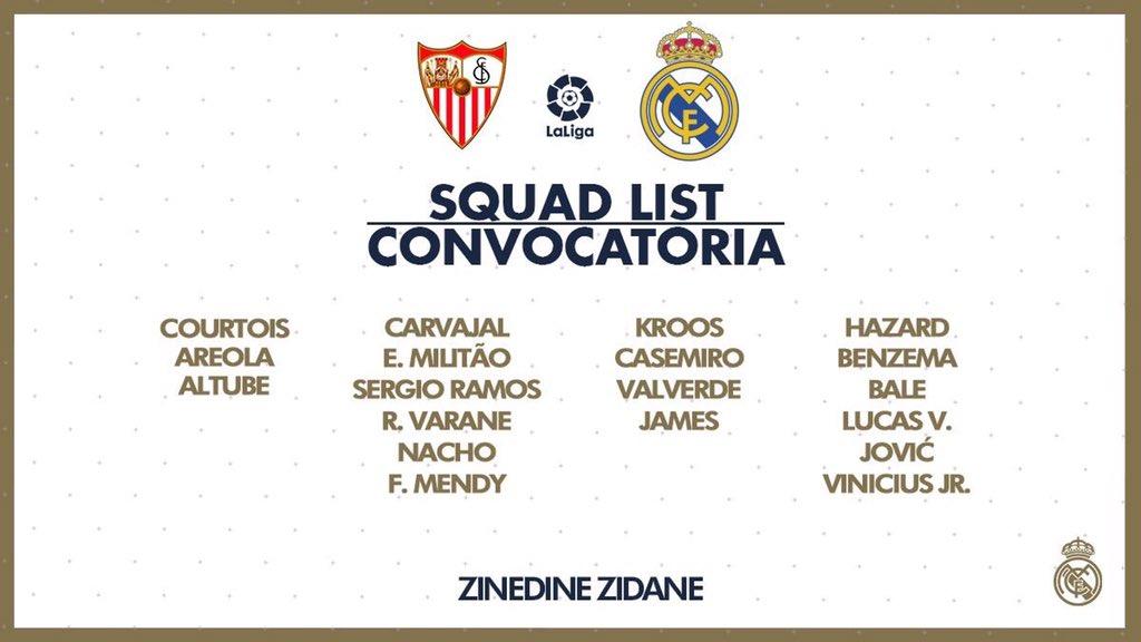 قائمة ريال مدريد ضد اشبيلية