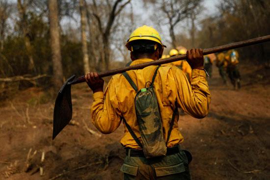 جانب من رجال الإطفاء