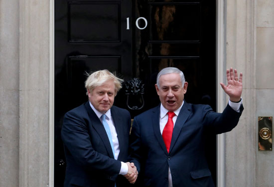 رئيس وزراء إسرائيل نتنياهو ورئيس وزراء بريطانيا جونسون