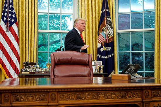President Trump is in the Oval Office