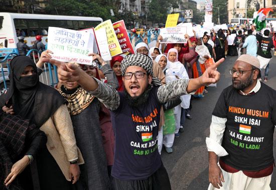 جانب من احتجاجات الهنود