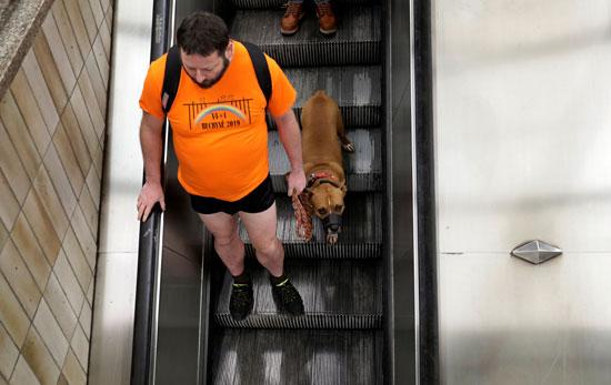 رجل ينزل المترو وقد خلع سرواله