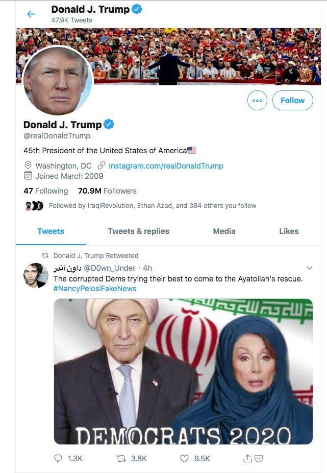 حساب ترامب ينشر الصورة المركبة لبيلوسى بالحجاب