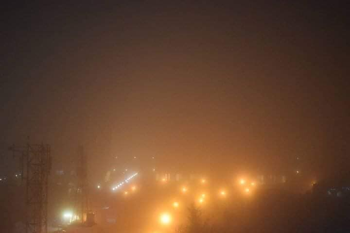 الضباب يغطى سماء دمشق