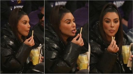 كيم كاردشيان تأكل أصابع البطاطس المقلية