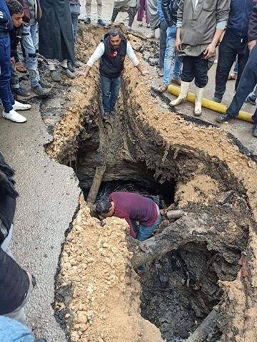 هبوط أرضي مفاجئ بقرية نشيل (1)