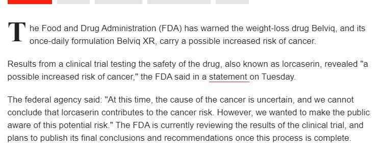 عقار بيلفيك لخفض الوزن قد يسبب السرطان