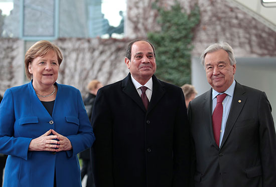 الرئيس السيسى يتوسط المستشارة الألمانية والأمين العام للأمم المتحدة
