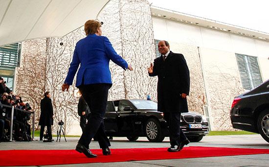إستقبال المستشارة الألمانية للرئيس السيسى