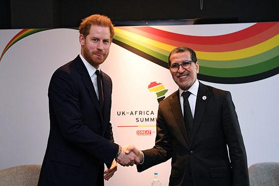 الأمير البريطانى هارى يجتمع مع سعد الدين العثمانى ، رئيس وزراء المغرب