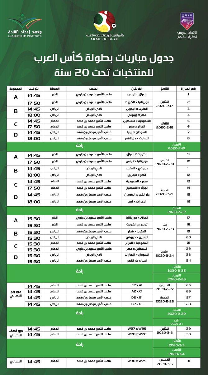جدول مباريات بطولة كأس العرب للشباب