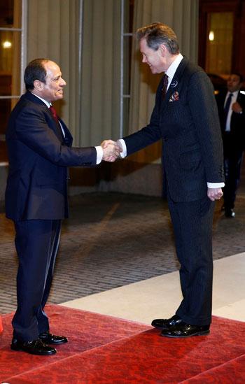 خلال استقبال الرئيس السيسى عقب وصوله