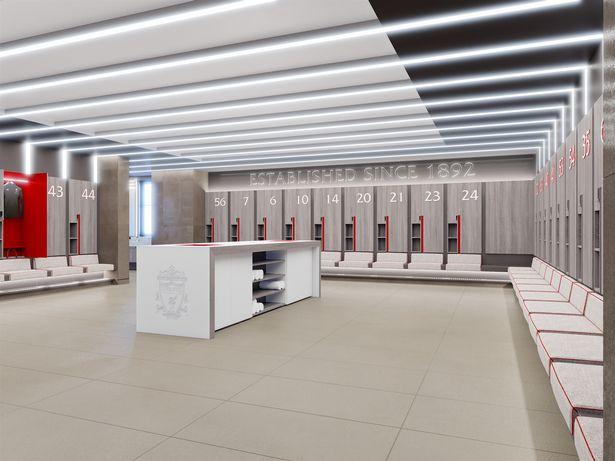 غرف الملابس فى مركز تدريب ليفربول الجديد