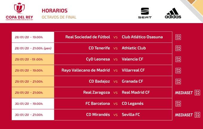 مواعيد مباريات دور الـ16 من كاس اسبانيا