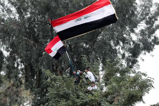 متظاهرون يتسلقون الأشجار