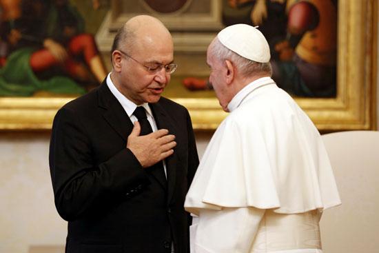 حديث بين برهم صالح و البابا فرانسيس