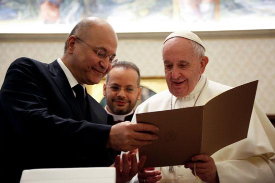 البابا فرانسيس يلتقى الرئيس العراقى برهم صالح فى الفاتيكان