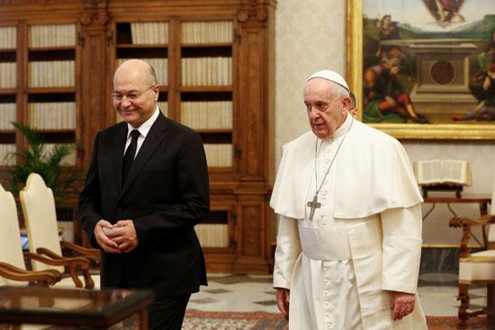 برهم صالح و البابا فرانسيس