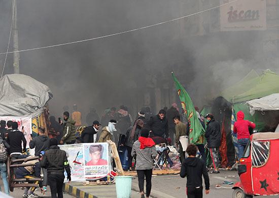تواصل الاحتجاجات بميدان التحرير فى بغداد