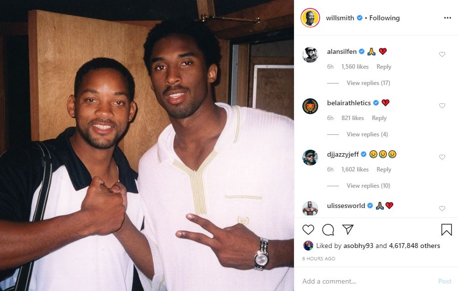 ويل سميث ينعى لاعب كرة السلة الراحل كوبى براينت