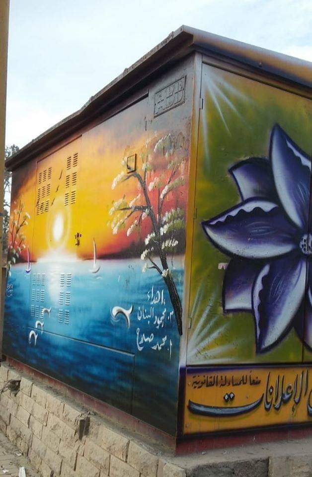 شباب أبوكبير يدشنون مبادرة لتحويل أكشاك الكهرباء لوحات فنية (3)