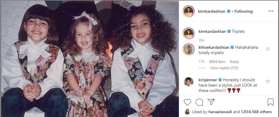 كيم كاردشيان تنشر صورتها مع شقيقاتها كورتنى وكلوى