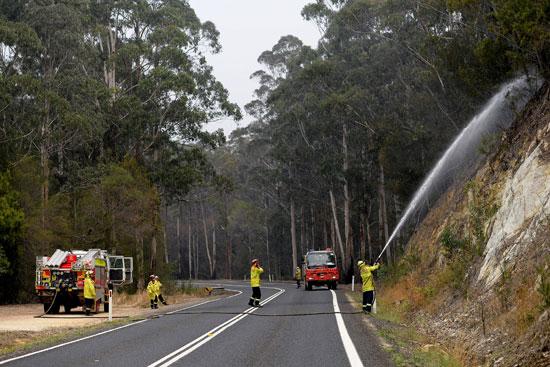 رجال الاطفاء يحاولون السيطرة على النيران