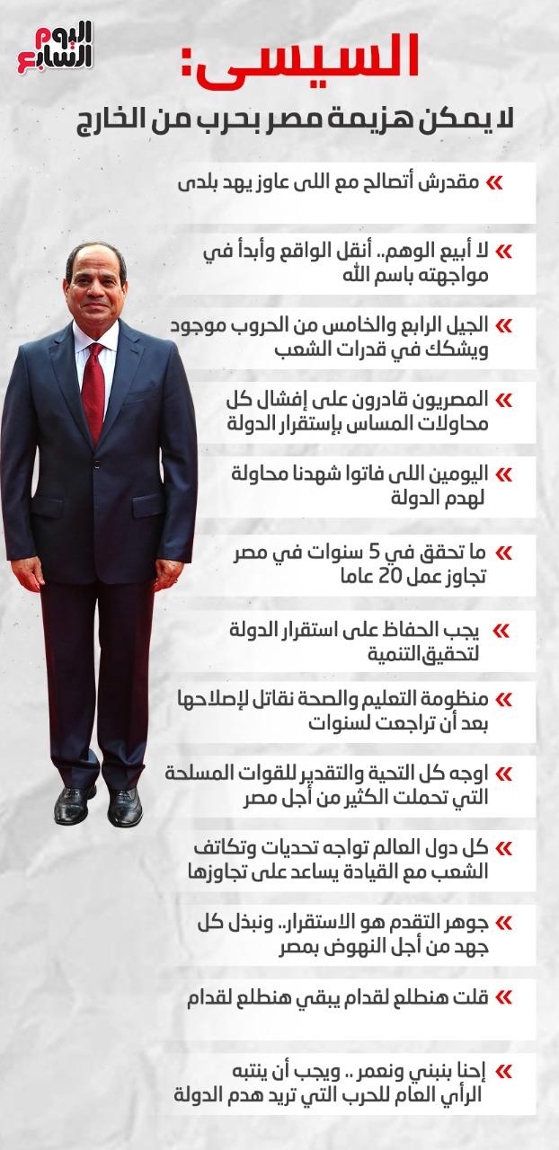تصريحات السيسى بندوة القوات المسلحة